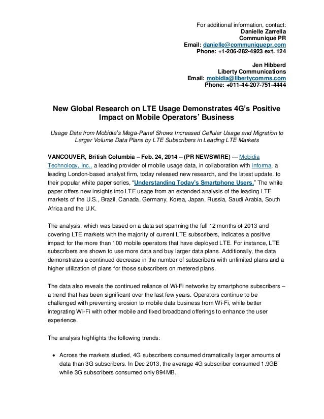 New Global Research on LTE Usage Demonstrates 4G's Positive Impact on Mobile Operators' Business