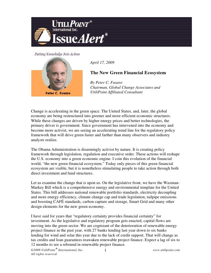 New Green Financial Eco System April  17 2009