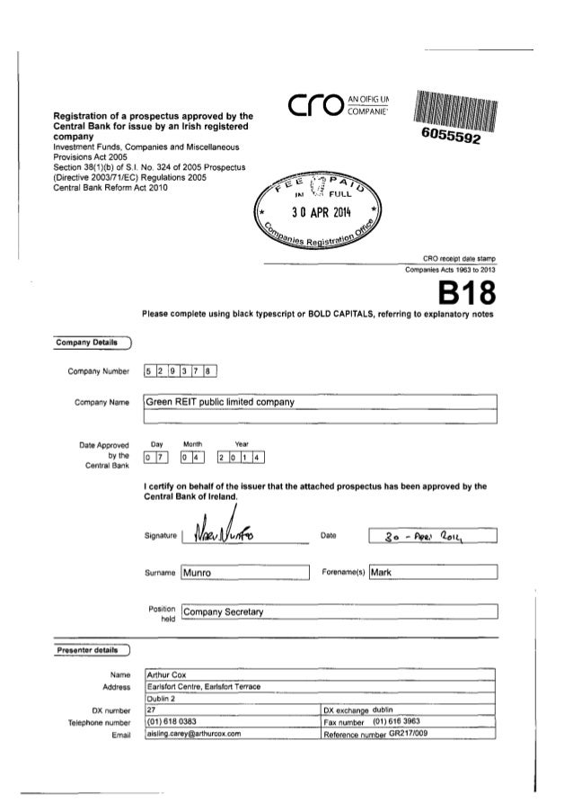 Registration of a prospectus approved by the Central Bank for issue by an Irish registered company Investment Funds, Compa...