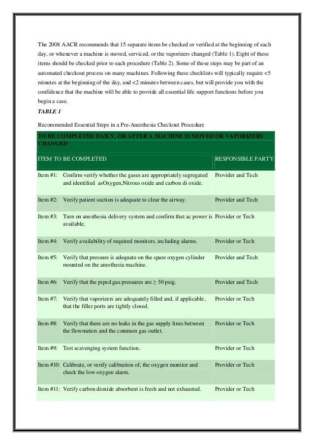 anesthesia machine checklist