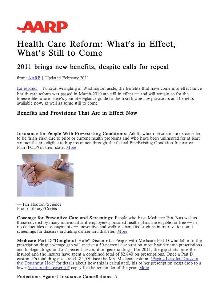 New health insurance and medicare benefits and changes, repeal efforts  - aarp