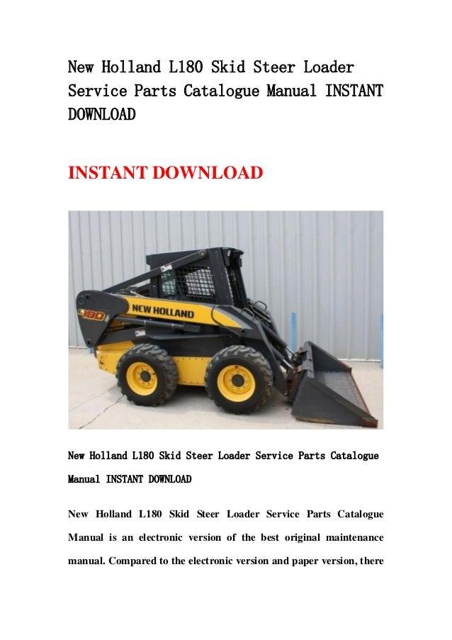 New Holland L180 Skid Steer Loader Service Parts Catalogue