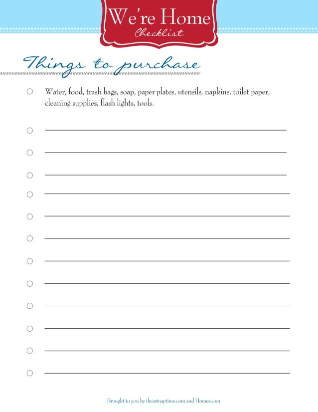 New Home Printable Checklist - Unpacking