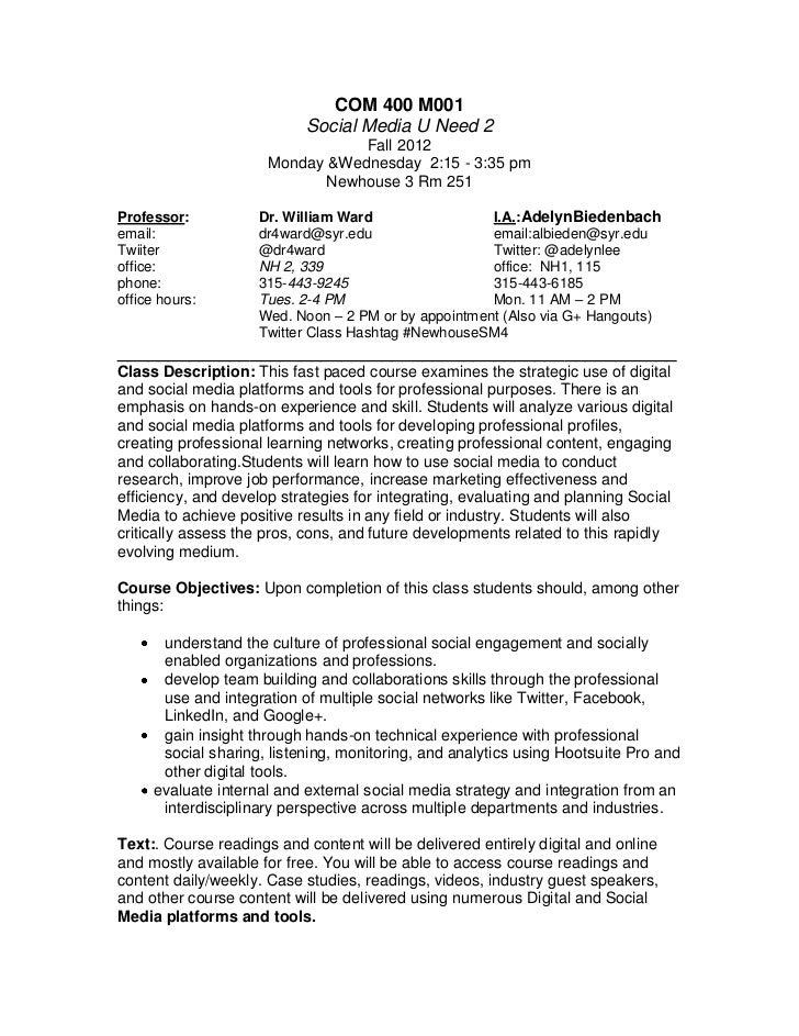 NewhouseSU COM 400 Social Media U Need 2 Know #NewhouseSM4 - Fall 2012 syllabus
