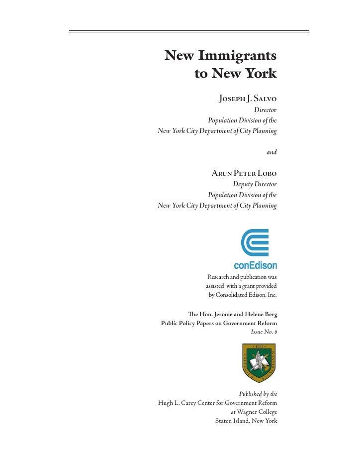 New Immigrants      to New York                        Joseph J. Salvo                                  Director          ...