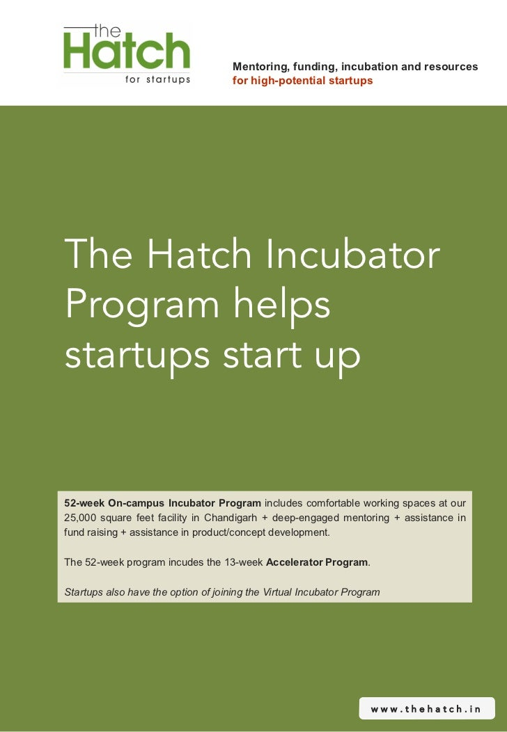 Mentoring, funding, incubation and resources                                     for high-potential startupsThe Hatch Incu...
