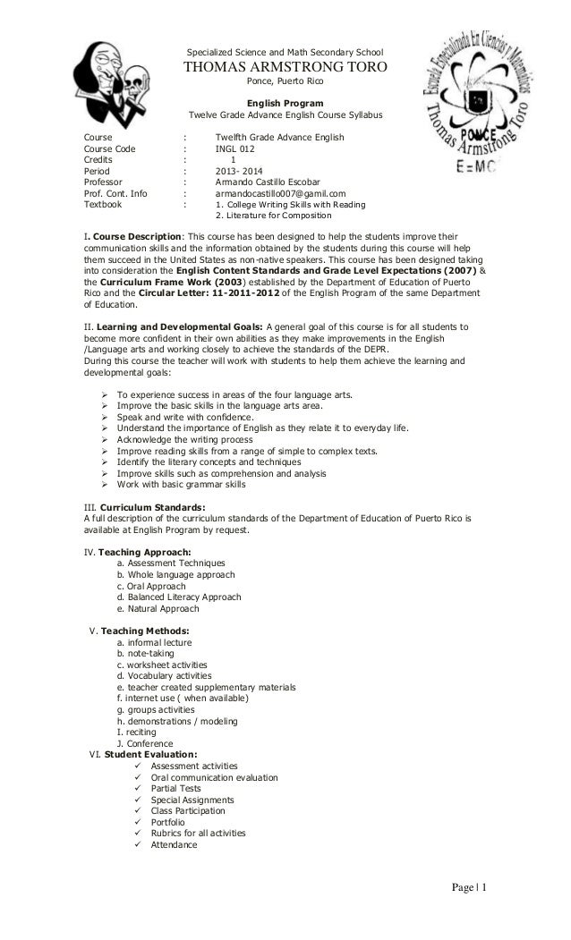 Page | 1 Specialized Science and Math Secondary School THOMAS ARMSTRONG TORO Ponce, Puerto Rico English Program Twelve Gra...