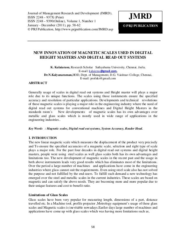 Journal of Management Research and Development (JMRD), ISSN 2248 – 937X (Print) ISSN Journal of Management Research and De...