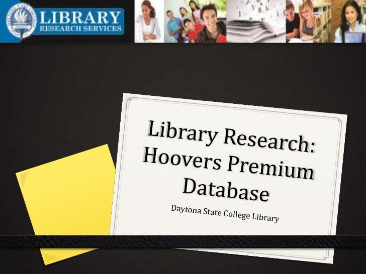 Using Hoovers Premium Database