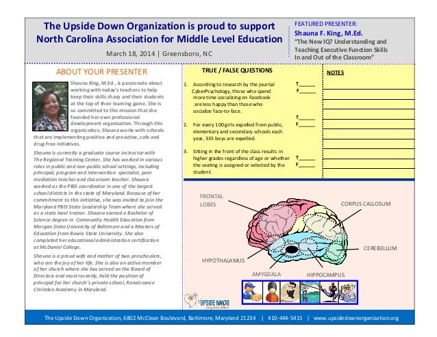 The Upside Down Organization is proud to support North Carolina Association for Middle Level Education March 18, 2014   Gr...