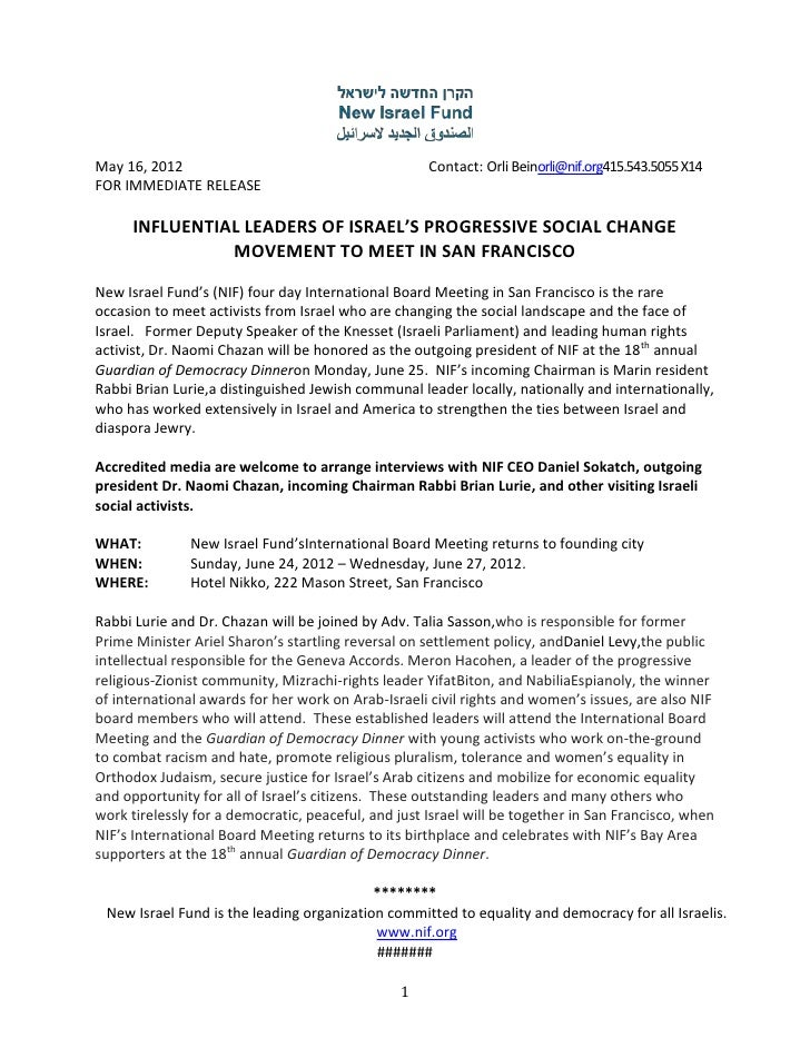 May 16, 2012                                         Contact: Orli Beinorli@nif.org415.543.5055 X14FOR IMMEDIATE RELEASE  ...