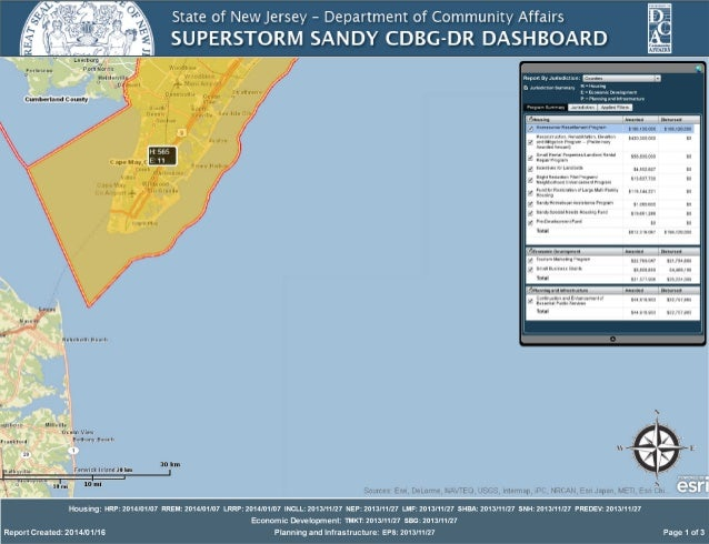 New Jersey Department of Community Affairs Superstorm Sandy CDBG dashboard as of Jan. 16, 2014 for Cape May County, NJ