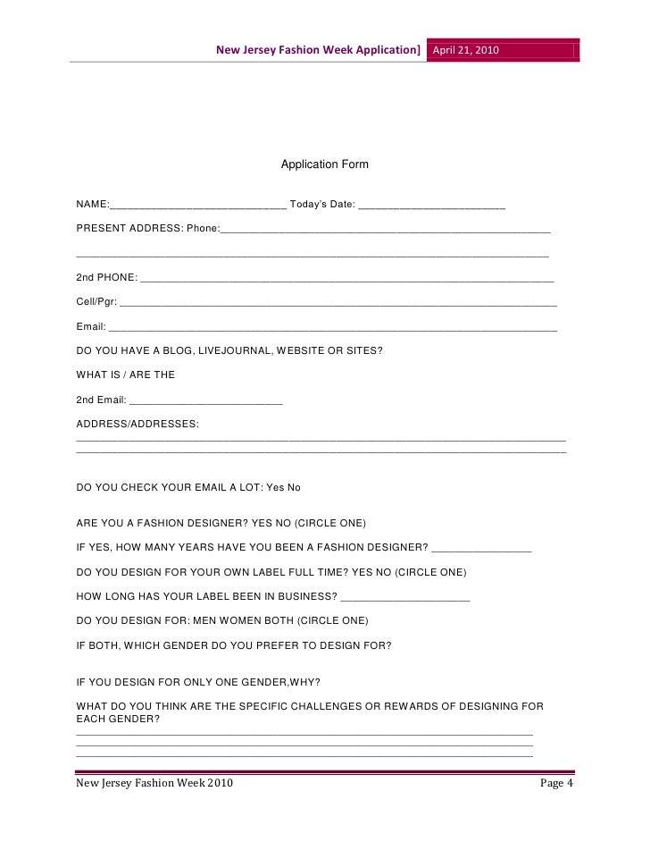 Fashion Designer Application Form