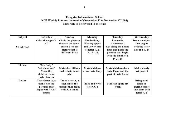 1                                      Edugates International School                  KG2 Weekly Plan for the week of (Nov...