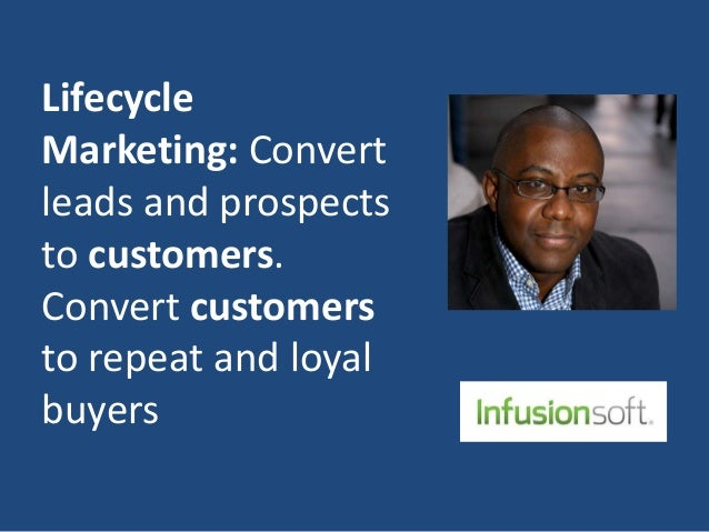 Lifecycle Marketing: Convert leads and prospects to customers. Convert customers to repeat and loyal buyers