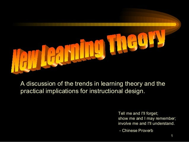 1A discussion of the trends in learning theory and thepractical implications for instructional design.Tell me and Ill forg...