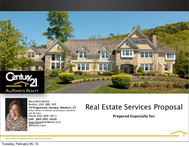 Mary Beth Welsh                                                                  Real Estate Services Proposal            ...
