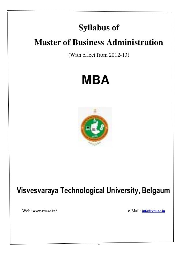 Syllabus of       Master of Business Administration                       (With effect from 2012-13)                      ...