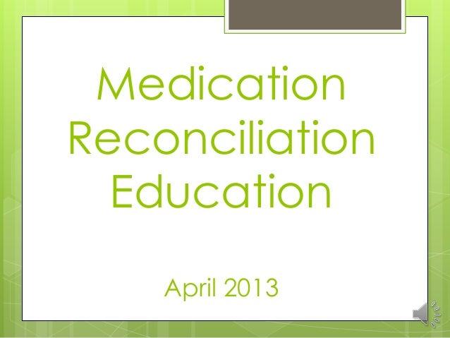 Medication Reconciliation Education