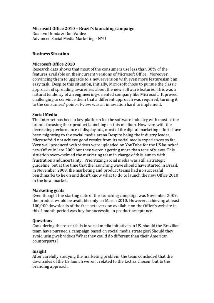 Microsoft Office 2010 – Brazil's launching campaignGustavo Donda & Don ValdezAdvanced Social Media Marketing - NYUBusiness...