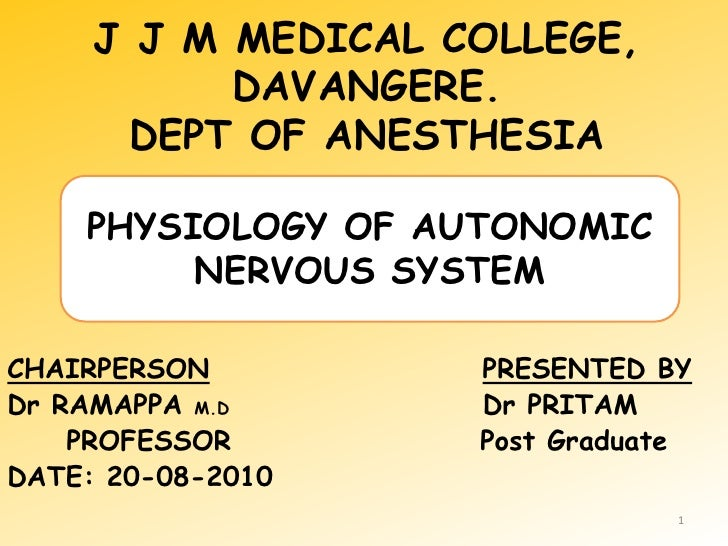 J J M MEDICAL COLLEGE, DAVANGERE.DEPT OF ANESTHESIA<br />PHYSIOLOGY OF AUTONOMIC NERVOUS SYSTEM<br />CHAIRPERSONPRESENTED ...