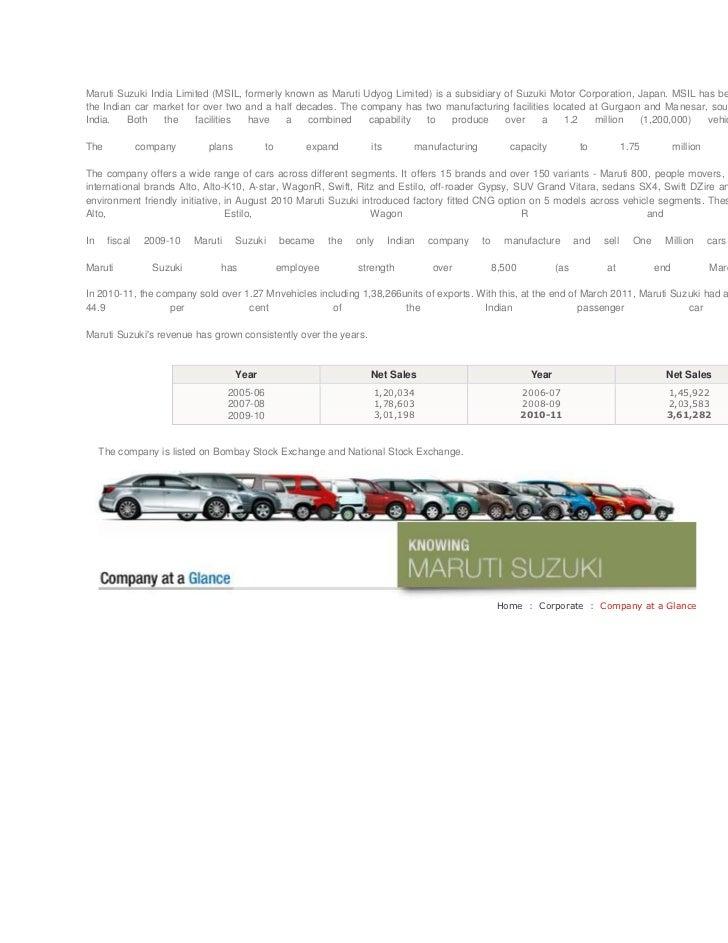 Maruti Suzuki India Limited (MSIL, formerly known as Maruti Udyog Limited) is a subsidiary of Suzuki Motor Corporation, Ja...