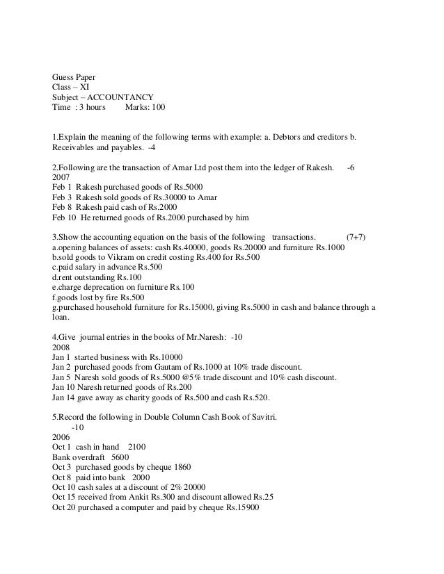 SAMPLE PAPER OF BUSINESS CLASS 11TH