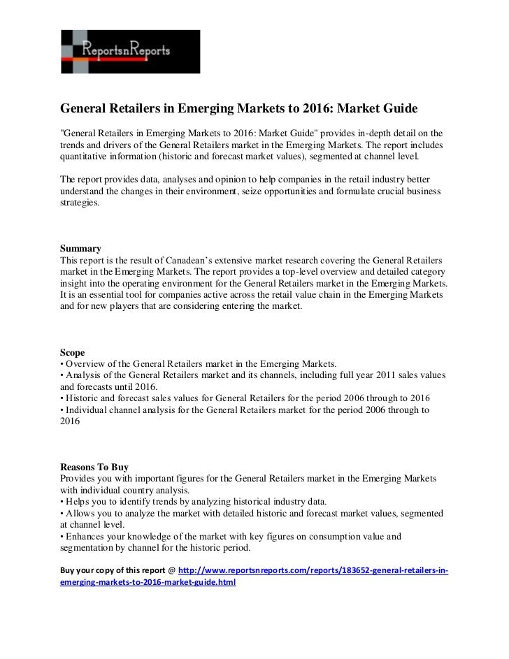 "General Retailers in Emerging Markets to 2016: Market Guide""General Retailers in Emerging Markets to 2016: Market Guide"" p..."