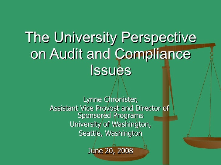 The University Perspective on Audit and Compliance Issues