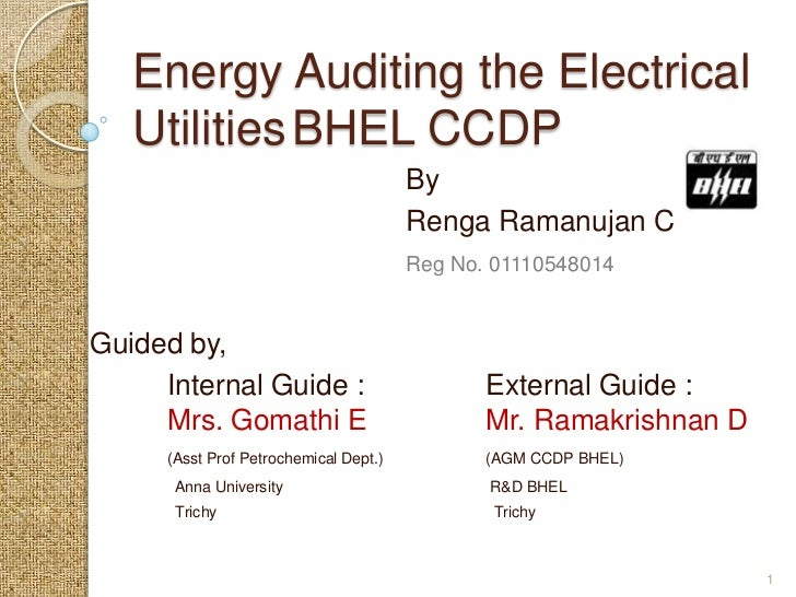 Energy Auditing the Electrical   Utilities BHEL CCDP                                       By                             ...