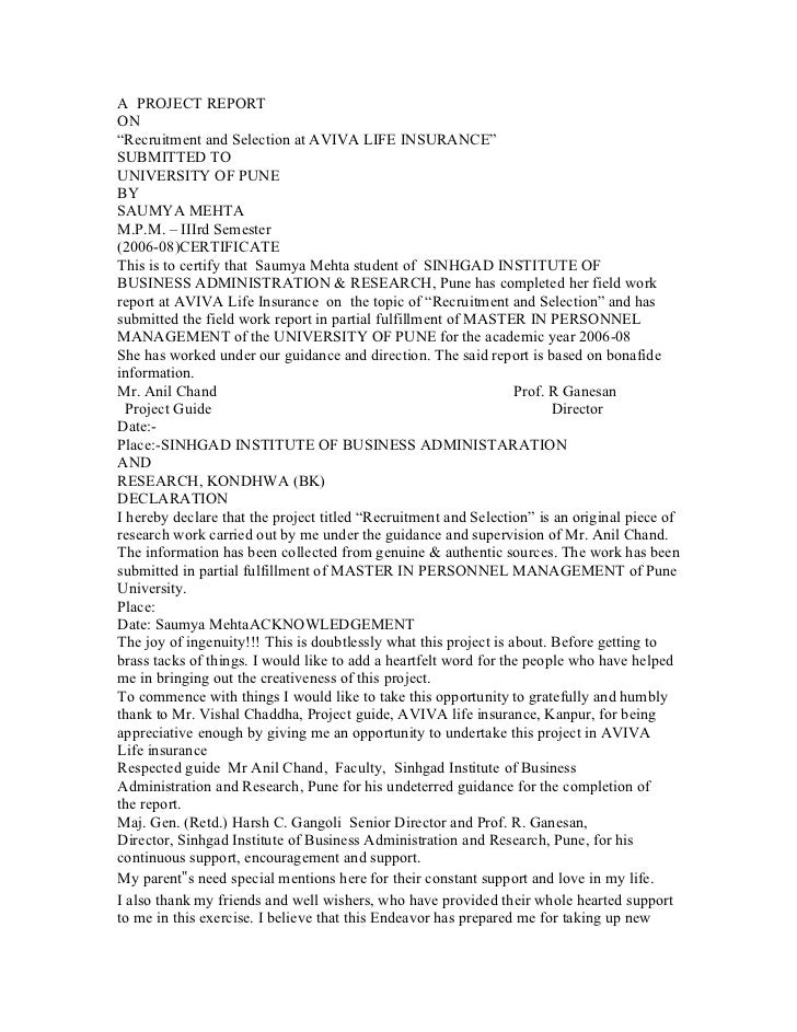 "A PROJECT REPORTON""Recruitment and Selection at AVIVA LIFE INSURANCE""SUBMITTED TOUNIVERSITY OF PUNEBYSAUMYA MEHTAM.P.M. – ..."