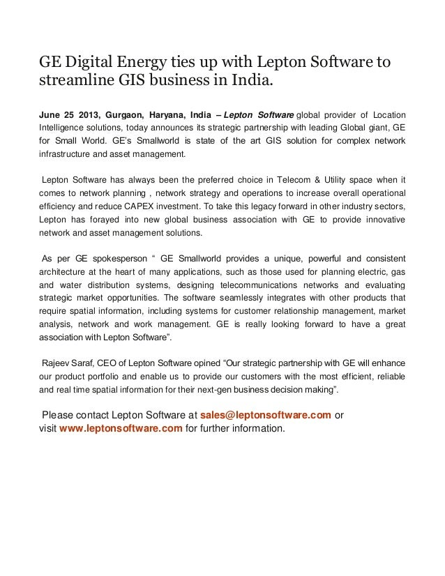 GE Digital Energy ties up with Lepton Software to streamline GIS business in India.