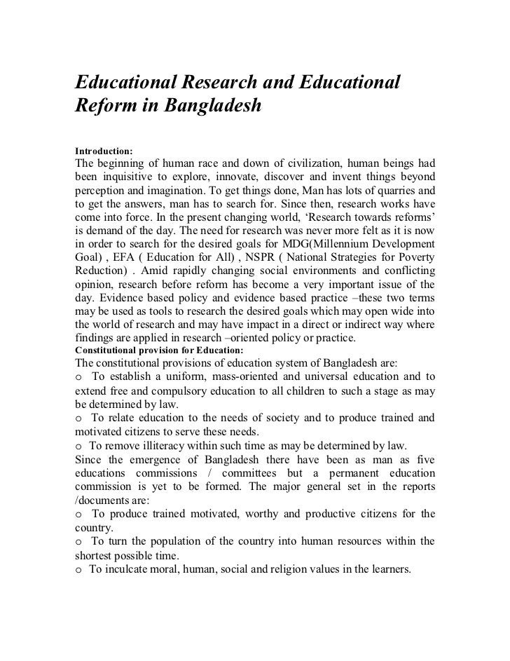 Educational Research and EducationalReform in BangladeshIntroduction:The beginning of human race and down of civilization,...