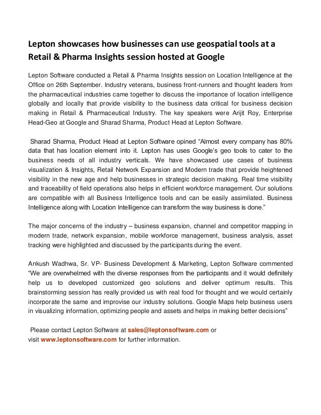 Lepton showcases how businesses can use geospatial tools at a Retail & Pharma Insights session hosted at Google Lepton Sof...