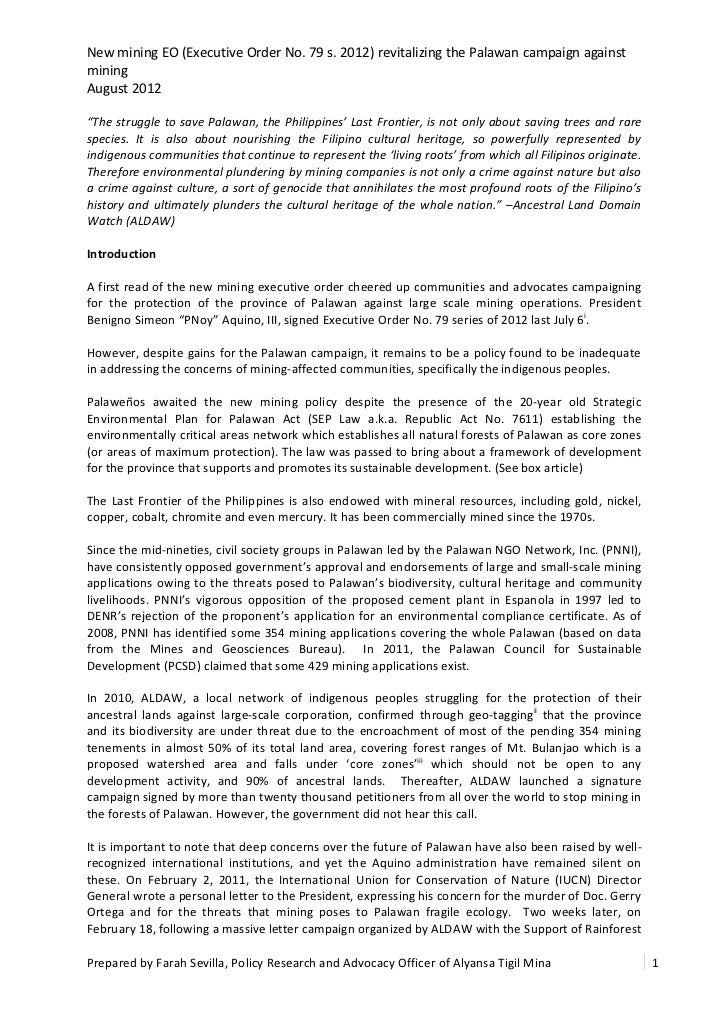 """New mining EO (Executive Order No. 79 s. 2012) revitalizing the Palawan campaign againstminingAugust 2012""""The struggle to ..."""