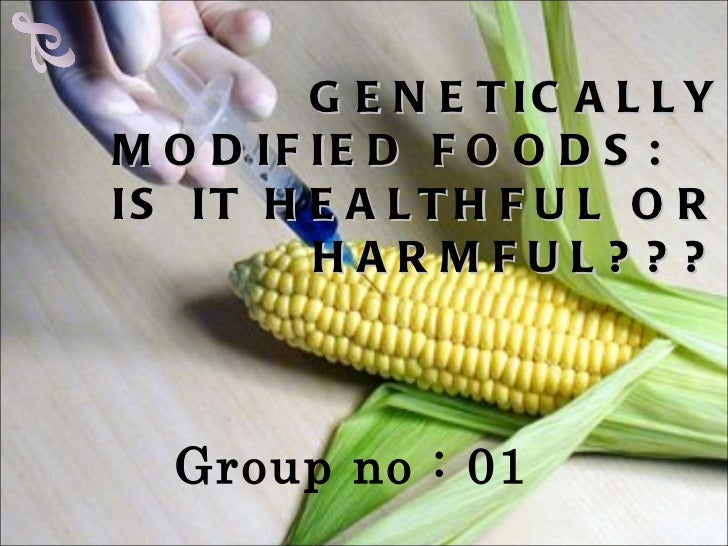 GENETICALLY MODIFIED FOODS:  IS IT HEALTHFUL OR HARMFUL??? <ul><li>Group no : 01 </li></ul>