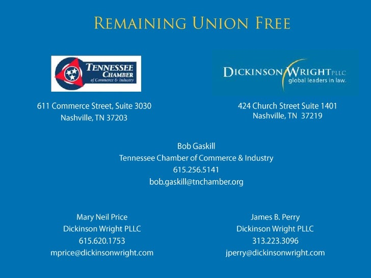 Remaining Union Free<br />424 Church Street Suite 1401Nashville, TN  37219<br />611 Commerce Street, Suite 3030<br />Nashv...