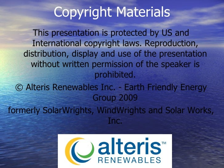 This presentation is protected by US and International copyright laws. Reproduction, distribution, display and use of the ...