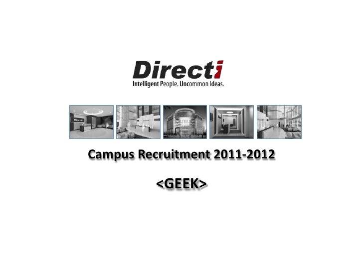 Directi On Campus- Engineering Presentation - 2011-2012