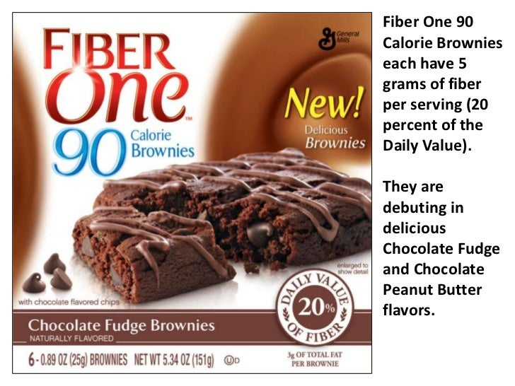 Fiber One 90 Calorie Brownies each have 5 grams of fiber per serving (20 percent of the Daily Value). <br />They are debut...