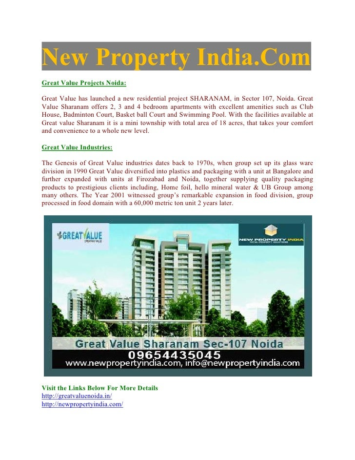 "Great Value Sharanam - ""09971495543"" - New Luxury 5 BR Apartments - Great Value Sector-107 - Great Value Noida Property"