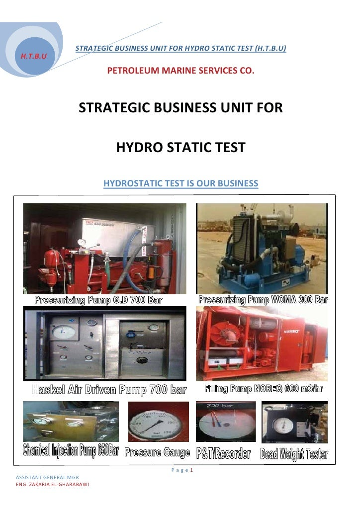 STRATEGIC BUSINESS UNIT FOR HYDRO STATIC TEST (H.T.B.U)  H.T.B.U                                 PETROLEUM MARINE SERVICES...