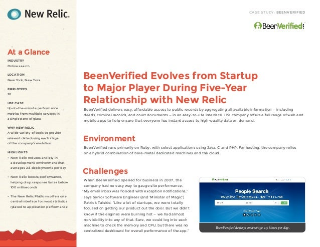 CASE STUDY: BEENVERIFIEDBeenVerified Evolves from Startupto Major Player During Five-YearRelationship with New RelicBeenVe...