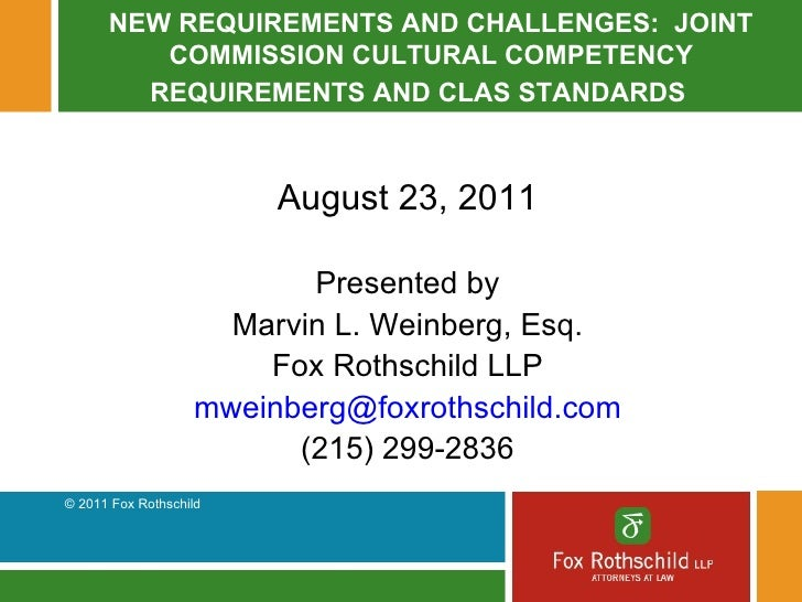 ... Joint Commission Cultural Competency Requirements And Clas Standards