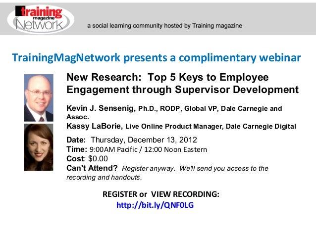 New Research:  Top 5 Keys to Employee Engagement through Supervisor Development