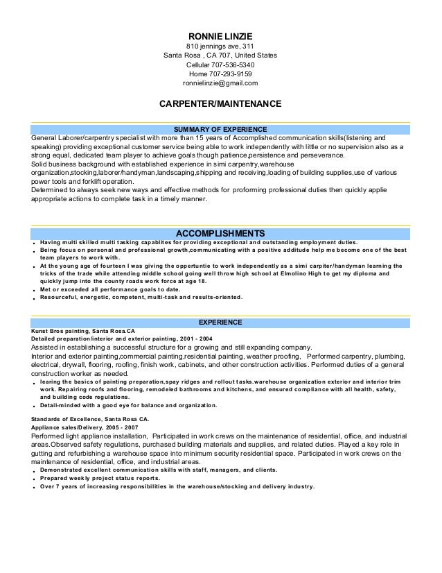 Carpenter Cover Letter For Resume Car Pictures Car Canyon