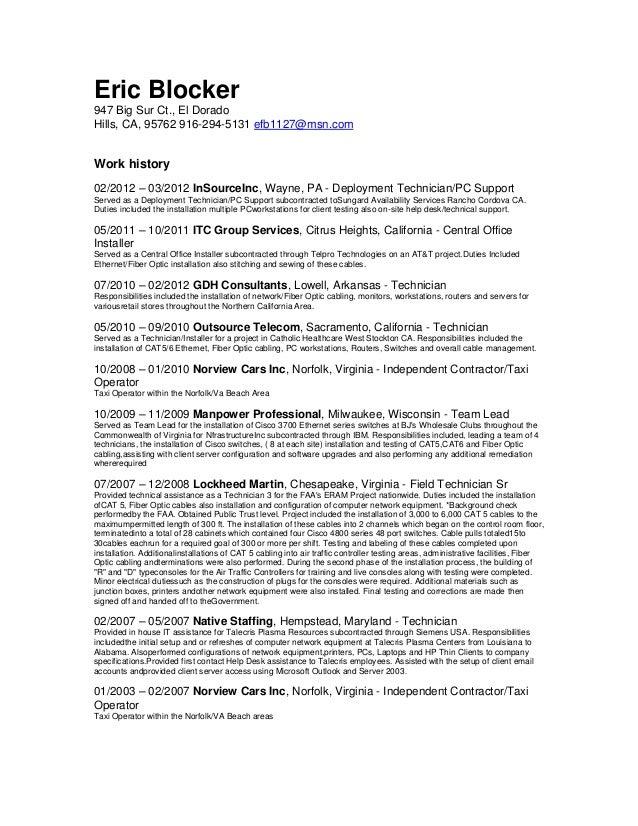 Optical fiber technician resume