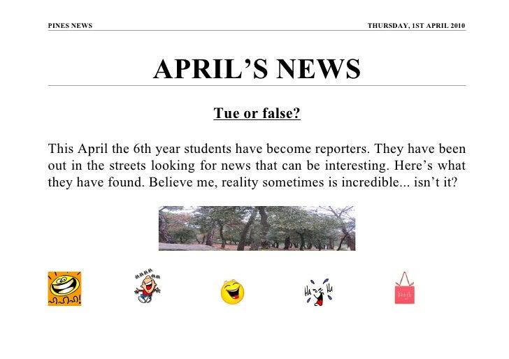 PINES NEWS                                             THURSDAY, 1ST APRIL 2010                       APRIL'S NEWS        ...