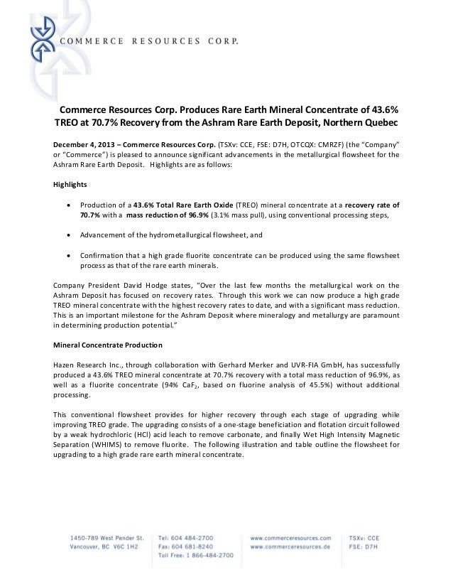 Commerce Resources Corp. Produces Rare Earth Mineral Concentrate of 43.6%  TREO at 70.7% Recovery from the Ashram Rare E...