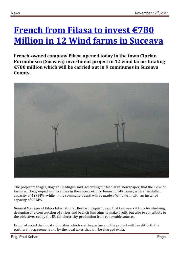 News                                                                             November 17th, 2011 French from Filasa to...